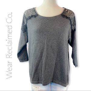🛍3/$30 LAUREN CONRAD Charcoal Sweater with Lace